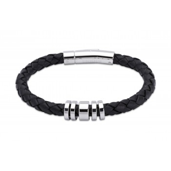 Gents leather bracelet with steel detail