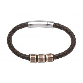 Gent's leather & Rose gold plated bracelet