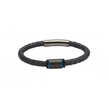 Gent's leather and blue feature bracelet