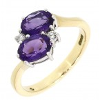 Amethyst & Diamond crossover ring