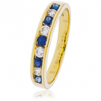 Sapphire & Diamond semi-eternity ring