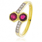 Ruby & diamond crossover ring