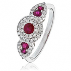 Ruby & Diamond triple head cluster ring