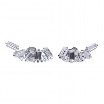 Baguette & Brilliant Cluster Earrings