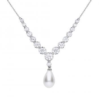 Simulated Pearl & Zirconia Necklace