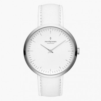 """Infinity""Lady's white strap watch"
